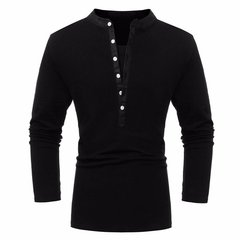 Men's Cotton Solid Pure Color Buttons V-neck Long-sleeved Casual T-shirts