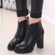 Leather High Heel Zipper Ankle Pure Color Chunky Heel Boots