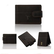 Men Genuine Leather Cowhide Retro Short Horizontal Card Holder Wallets
