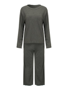 Casual Pure Color Long Sleeve Two-Piece Set Overall Jumpsuit For Women