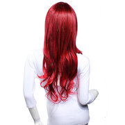 Fluffy Gradient Color Wine Red Long Curly Wig Girls