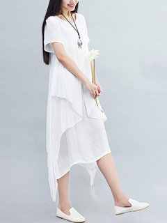 Women Short Sleeve O Neck Fake Two Piece Pure Color Dress