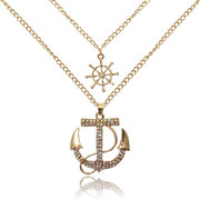 Crystal Rhinestone Anchor Pendant Alloy Necklace