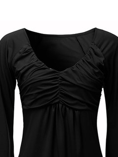 Women Casual Pleated Horn Sleeve V-neck T-shirt
