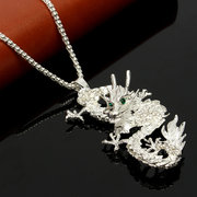Dragon Men Necklace Chinese Style Dragon Crystal Long Sweater Necklace