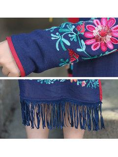 Casual Printed Folk Embroidery Long Sleeve Knit Tassels Coat