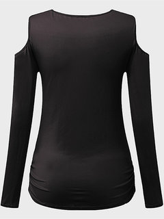 Women V-neck Zipper Long Sleeve Pure Color T-shirt