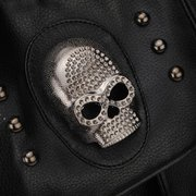 Women Punk Skull Rivet Black Leather Handbag