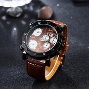 OULM Sport Watch Brown Leather Three Dials Casual Men Watch