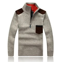Men's Winter Fashion Stand Collar Thickened Knit Pullover Zipper Collar Casual Sweater