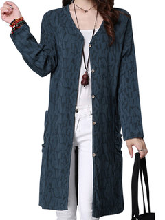 Elegant Fashion Pure Color Embossed Long Sleeve Button Cardigan For Women
