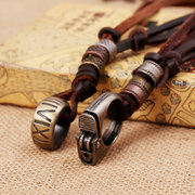 Men Necklace Alloy Lighter Roman Numerals Ring Leather Necklace