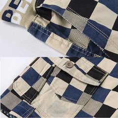 Summer Mens Fashion Contrast Colour Plaid Elastic waist Sports Cotton Shorts