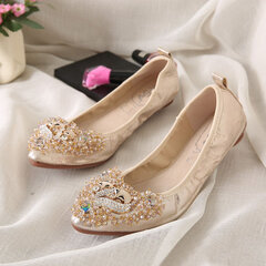 Egg Roll Breathable Shallow Mouth Slip-On With Diamond Flat Shoes