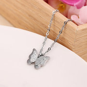 Frosted Double Layer Butterfly Pendant Necklace