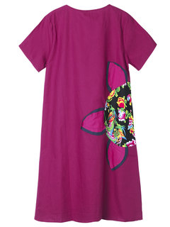 Chinese Style Floral Printed Short Sleeve Summer Dress For Women
