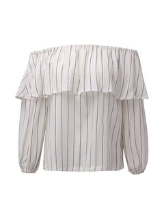 Women Casual Stripe Off-shoulder Long Sleeve T-shirt