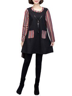 Fashion Stripe Patchwork Long Sleeve Fake Two-Piece Mini Dress For Women