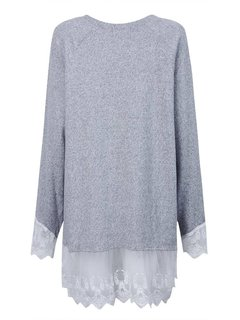 Loose Women Lace Patchwork Long Sleeve Pullover Blouse