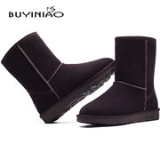 BUYINIAO Pure Color Flat Ankle Snow Boots