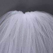 2 Layers Bride Bridal Elbow Length Cut Edge Wedding Veil With Comb