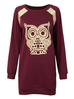 Plus Size Causal Women Owl Animal Pattern Straight Dress
