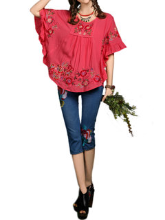 Casual Women Flare Sleeve Reffle Embroidery Cotton Linen T-shirt