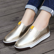 Shiny Gold Silver Slip On Lace Up Casual Flat Shoes