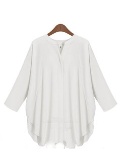 Loose Sexy V-Neck Three Quarter Batwing Sleeves Blouse