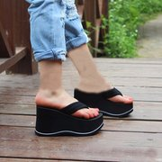 Black EVA Stripe Platform Clip Toe Beach Outdoor Flip Flops Slippers