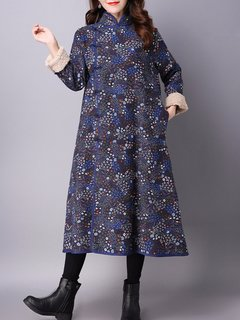 Folk Printed Cashmere Cotton-padded Stand Collar Coat