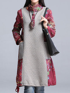Casual Printed Color Contrast Stitching Turtleneck Long Sleeve Cotton Dress