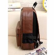 Casual Men PU Leather Backpack Laptop Outdoor School Bookbag