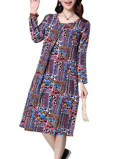 Урожай Этнические Печатный Сыпучие плиссированные дизайн с длинным рукавом платье женщин