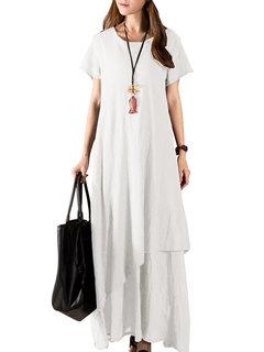 Урожай мундир с коротким рукавом Pure Color Long Maxi платье для женщин