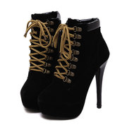 Thin High Heel Lace Up Ankle European Style Boots