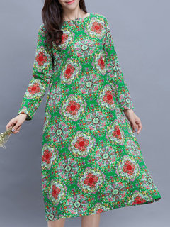 Vintage Printed Button O-Neck Long Sleeve Straight Dress For Women
