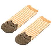 Women Girls Cartoon Animals Striped Socks Cat Cotton Floor Socks