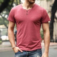 Mens Base T-shirts 2 Buttons Decoration Crew Neck Short Sleeve T-Shirts