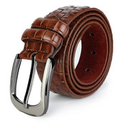 Men's PU Leather Belt Retro Plaid Wild Casual Grid Pin Buckle Belt