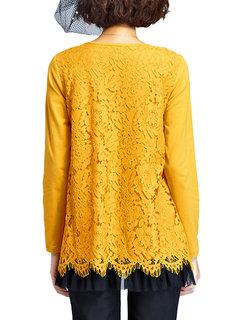 Элегантный Кружева вязания сетки Лоскутная O шеи Плиссированные Блуза для женщин