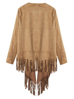 Women Fashion Suede Leather Tassel Long Sleeve Shawl Coat