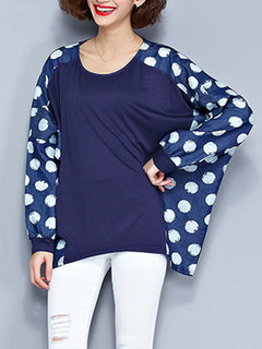 Casual Loose Women Dots Patchwork Batwing Sleeve O Neck Blouse