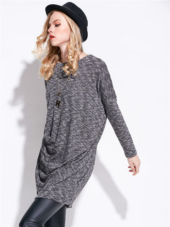 Casual Pure Color Long Sleeve Irregular Mini Knit Dress For Women