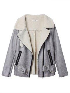 Женщины Suede Регулируемый пояс пальто с длинным рукавом на молнии нагрудные