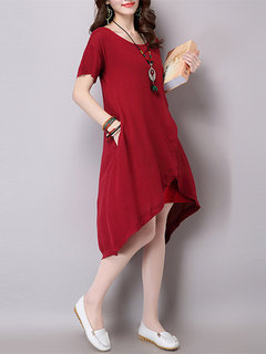 Short Sleeve Fake Two Pieces High Low Women Vintage Dress