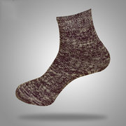Vintage Chinese Style Solid Color Rough Lines Breathable Cotton Middle Tube Socks For Men