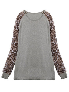 Women Long Sleeve O Neck Leopard Printed Casual T-shirt