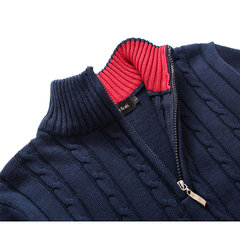 Casual Cotton Solid Color Thick Warm Stand Collar Slim Fit Knitted Sweater For Men