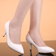 Leather Pure Color Ponited Toe Stiletto Slip On High Heel Pumps
